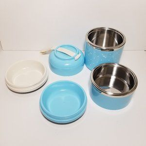 4 Compartment Tiered Food Container Tiffin blue
